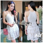 Lady Sandra Feminine Sexy Mixed Lace with Nude Lining Dress