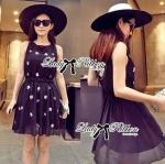 Lady Christen Super Glam Embellished Chiffon Dress (สีดำ)