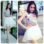 COMES Ocean Print Jumpsuit with Organza Skirt (โทนชมพู)