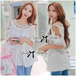 Lady Marion Cotton Top with Knit and Lace in White