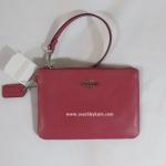 กระเป๋าคล้องแขน COACH F52850 SVDJ7 Crossgrain Leather Small Wristlet Sunset Red