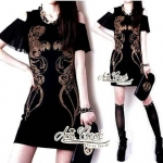 Padres pins big Feifei sleeve chiffon stitching small fragrant wind bottoming package hip slim dress by Aris Code