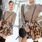 Lady Embellished Crop Sweater and Floral Skirt Set