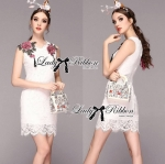 Lady Serena Classy Red Rose Embroidered White Lace Dress