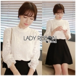 Lady Ciara Classic Vintage High-Neck Lace Blouse in White