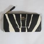 กระเป๋า สตางค์ Coach zebra printed emb slim zip wallets 52542 LIBLW C1