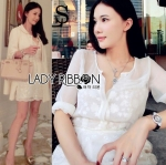 Lady Angelica Pure White Flower Embroidered and Embellished Chiffon Dress