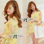 Lady Daria Beachy Blossom Print Chiffon Mini Dress (สีเหลือง)