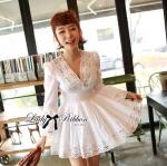 Lady Grace Insert Crochet Kaftan Dress in White
