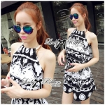 Lady Ashley Printed Playsuit in Black and White