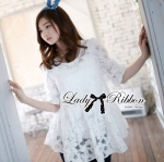 Lady Michelle Floral Embroidered Layer Tulle Blouse in White