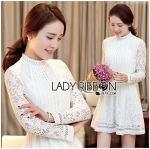 Lady Jessie Sweet Pure All White High-Neck Lace Dress