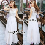 Lady Ellen Insert Lace Chiffon Maxi Dress (สีขาว)