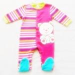 BDS-225 (24M,36M) ชุดหมี Baby Club สีชมพูลายริ้วหลากสี ลายหมี
