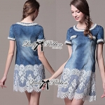 Lady Christine Sweet Pearl Embellished Denim Dress with Lace
