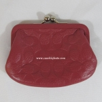 COACH F63358 SVDJ7 EMBOSSED SIGNATURE LEATHER COIN PURSE WALLET
