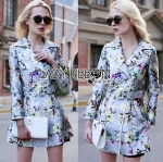 Lady Ariel British Style Winter Floral Printed Coat