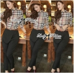 Lady Cara Burberry Style Plaid Shirt and Black Pants with Belt Set (เฉพาะกางเกง)