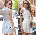 Lady Natasha Sophisticated Sleeveless Lace Trench Shirt Dress