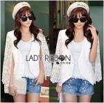 Lady Maria Elegant Double-Breast White Lace Jacket