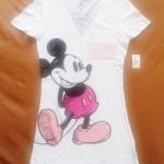 GSH-403 (10-12Y,(13-14Y),(15-16Y) เสื้อ Disney คอวี สีขาว ลาย Mickey Mouse สีชมพู