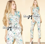 Lady Lilly Pastel Floral Printed Sleeveless Jumpsuit