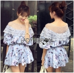 Lady Cate Sweet Feminine Off-Shoulder Knitted Floral Printed Mini Dress