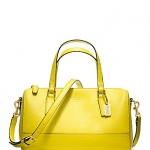 กระเป๋า COACH 49392 SAFFIANO LEATHER YELLOW MINI SATCHEL PURSE HANDBAG