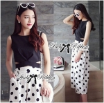 Lady Taylor Fashionable Cut-Out Cropped Top and Polka Dot Culotte (เสื้อดำ)