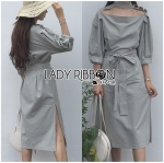 Lady Emily Minimal Chic Cut-Out Ribbon Poplin Cotton Dress