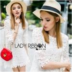 Lady Monica Little Flower Lace Mini Dress in White