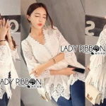 Lady Kate Sweet Feminine Pure White Lace and Cotton Tunic
