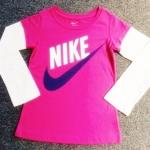 GSH-442 (4Y) เสื้อ Nike สีบานเย็นตัดต่อแขนสีขาว พิมพ์แบรนด์ Nike สีขาว-ดำ
