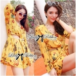 Lady Floral Printed Cut-Out Twist jumpsuit in Yellow