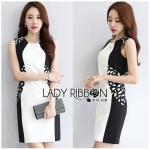 Lady Smart Casual Laser-Cut Black and White Dress