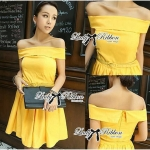 Lady Katherine Sexy Chic Off-Shoulder Silk Mini Dress (สีเหลือง)