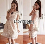 Lady Anna Sweet Feminine Guipure White Lace Dress