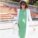 ชุดเดรสคลุมท้องสีเขียว+เสื้อคลุมสีขาว