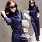 Korean lady set career two-piece lace pants by Aris Code