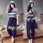 Lady Edie Casual Summer Holiday Striped Set