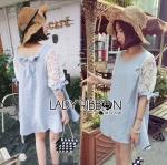 Lady Lara Relaxed Lace-Sleeve Pastel Blue Mini Dress with Ribbon