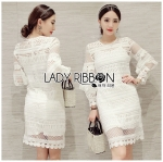 Lady Marion Classy Chic Mixed White Lace Dress