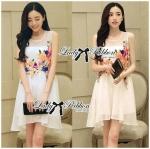 Lady Olivia Acid Hue Blossom Blooming Chiffon Dress (สีขาว)