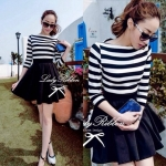 Lady Ballerina Stripe Black&White Mini Dress