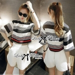 Lady Sarah Striped Top and Cotton Shorts Set