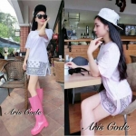 Mini Dresses American relax during the long hot summer of female retro print short-sleeved by Aris Code (สีขาว))