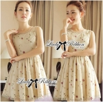Lady Stella Pretty Mini Roses Embroidered Tulle Dress