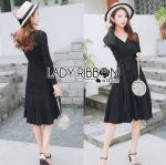 Lady Bella knit Smart Casual Sweet Side-Ribbon Pleated Dress