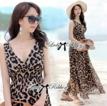 Lady Rosita Cheetah Safari Style Maxi Dress