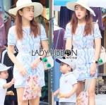 Lady Natalie Summery Sweet Vintage Blue and White Dress